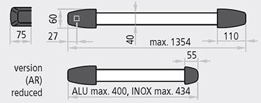 dimensiuni SLASH® bare si capace din inox sau capace din aluminiu cromat cu bara din aluminiu anodizat, sau in combinatia clasia de capace din nylon cu bara din aluminiu anodizat; Certificat pentru broaste cu distanta inter-axiala de 65 mm pentru usile cu un canat sau canat activ si distanta inter-axiala de 80 mm pentru canatele pasive; Deschidere reversibila dreapta – stanga; Protuberanta de 75 mm;