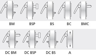 Variatii optionale Bara din aluminiu vopsita in culori din paletarul RAL Controale externe BM si BSP din otel inoxidabil lustruit Controale externe BM si BSP vopsite in culori din paletarul RAL Sistem MAC® 1 cu zavor cu functie de control al accesului Cilindri codati sau sistem de chei master Microswitch si cablu de semnalizare a deschiderii usii
